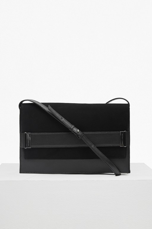 structured suede naomi clutch