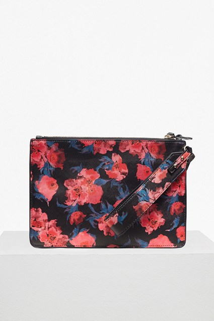 Printed Saffiano Zip Pouch