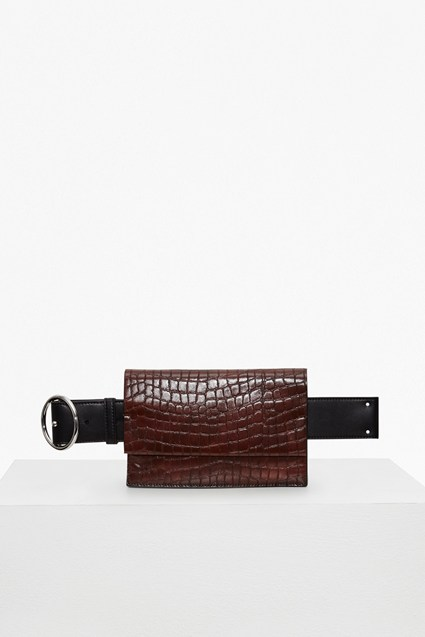 Oversized Buckle Croc Embossed Belt Bag