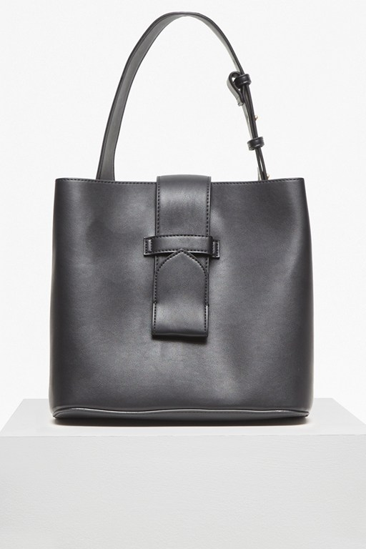 contemporary slide lock bucket bag