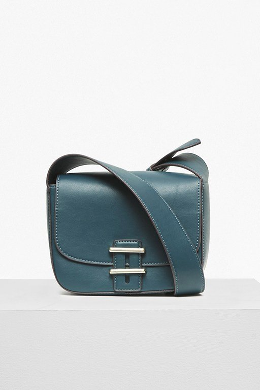 contemporary slide lock square cross body bag