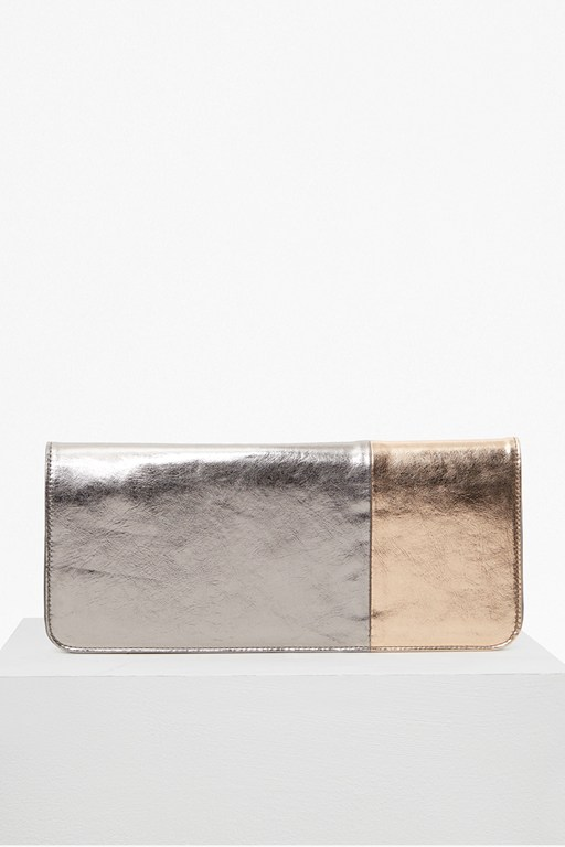 metallic fold over clutch