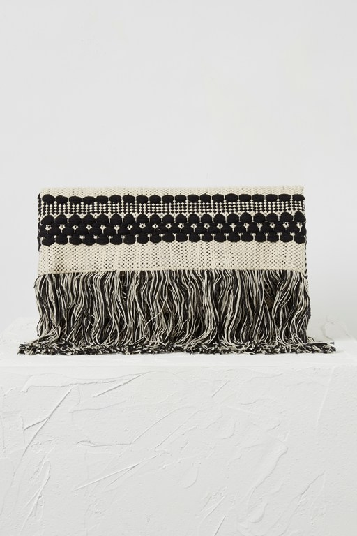 Complete the Look Kala Woven Fringed Clutch
