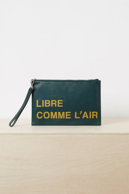 French Slogan Wristlet Clutch