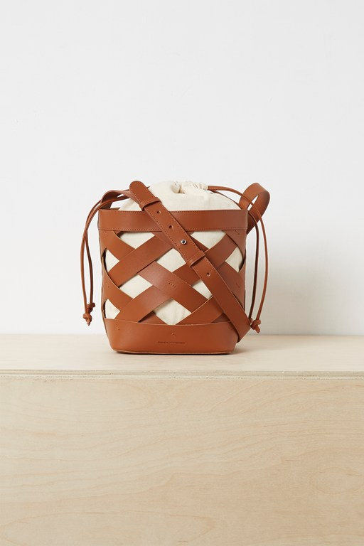 turner recycled leather bucket bag