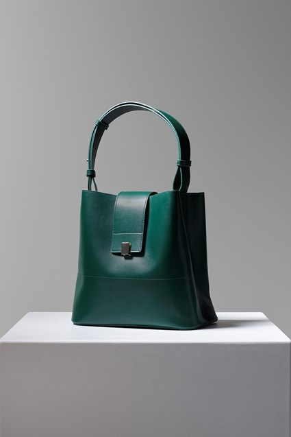 Chiara Recycled Leather Clasp Bucket Bag