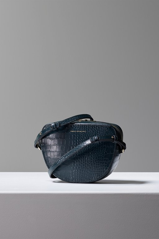 tallin recycled leather croc crossbody bag