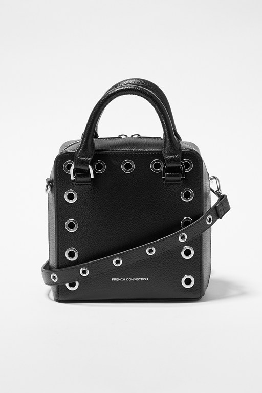 fern studded recycled split leather crossbody bag