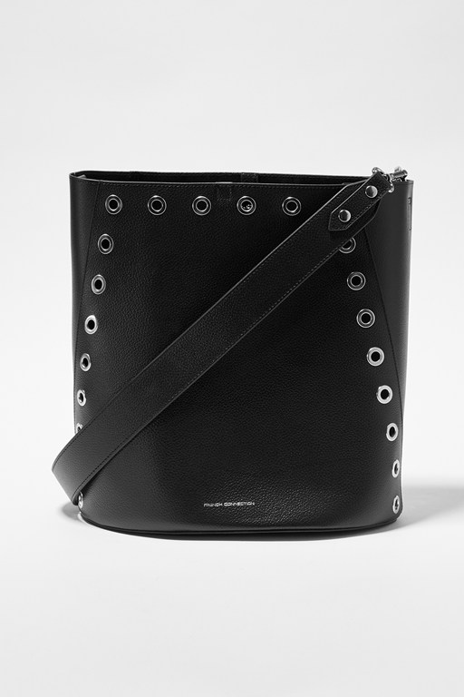 esi recycled leather studded bucket bag