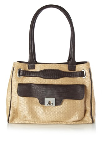Holly Hock Raffia Tote Bag