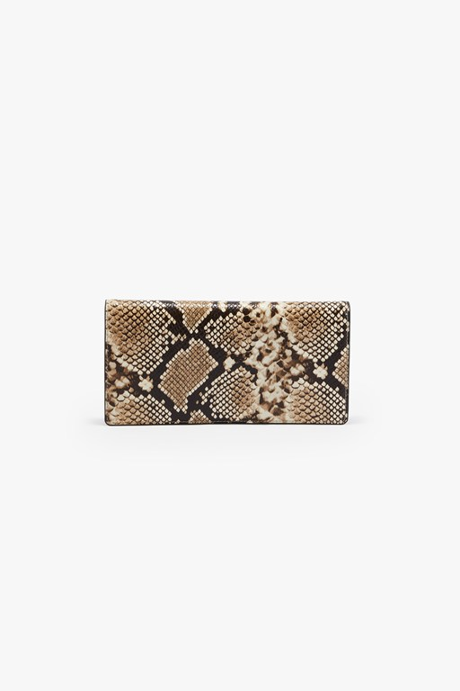 python leather clutch bag