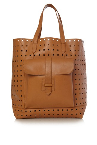 Raw Cut Perforated Leather Shopper