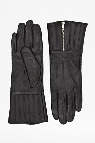 Zipped Up Leather Gloves