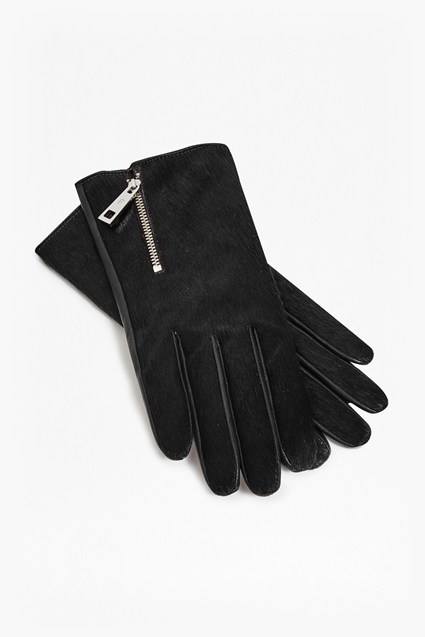 Ponyskin And Leather Zip Gloves
