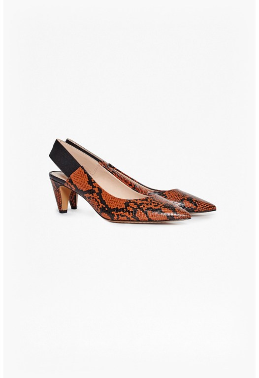 Kourtney Snakeskin Look Slingbacks