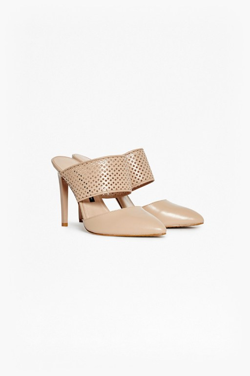 mollie stiletto laser cut mules
