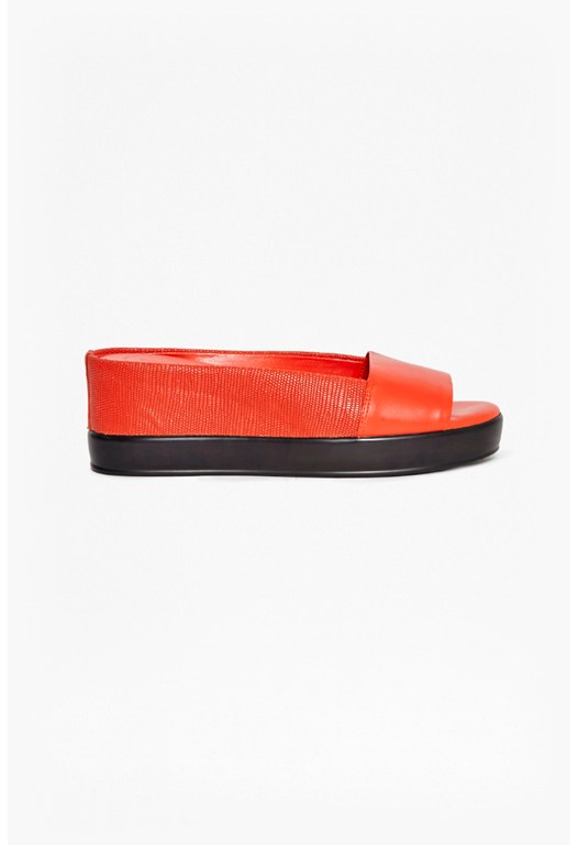 Pepper Leather Flatform Sliders
