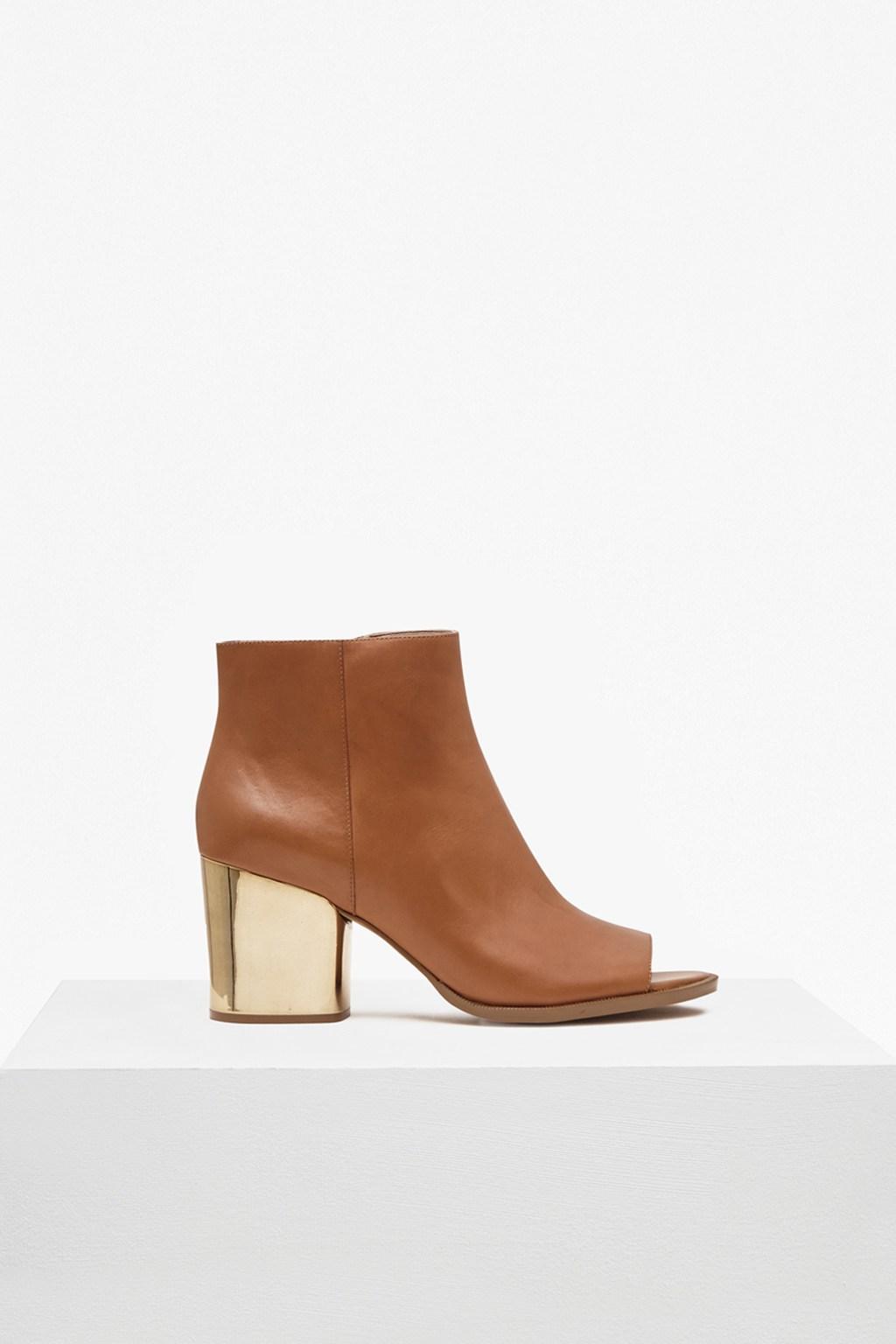 heeled boots with open toe