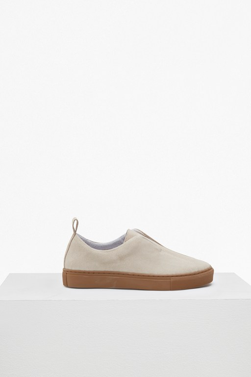 sara clean suede slip on trainers