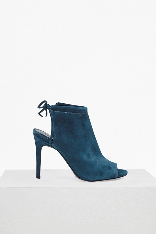 Complete the Look Ria Suede Open Heel Peep Toe Booties