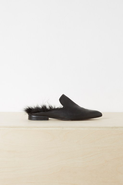 afra faux fur leather loafers