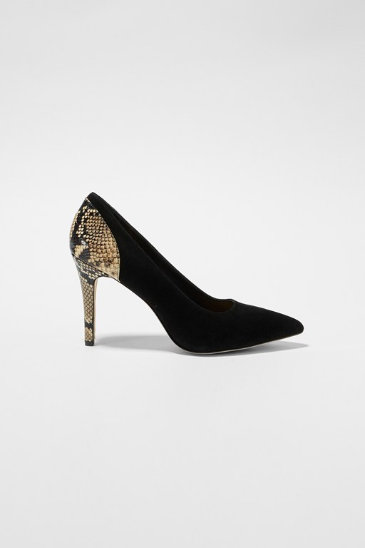 suede and python stiletto heels
