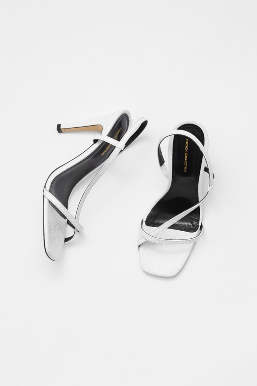 mock croc wrap around leather sandals