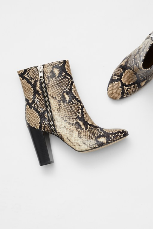 Complete the Look Snake Print Zip Ankle Boots