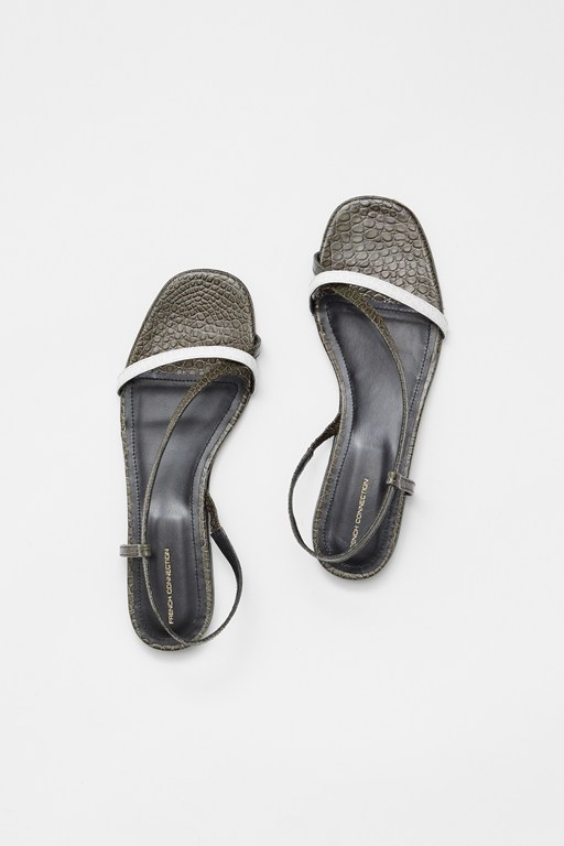 croc leather wrap around flat sandal