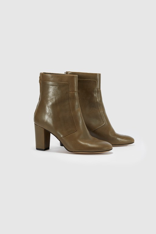 mid heel leather ankle boots