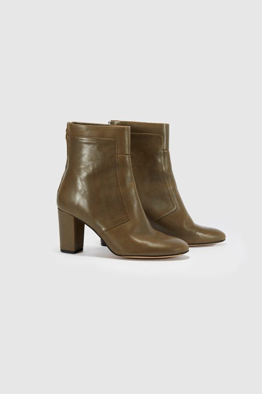 mid heel leather ankle boot