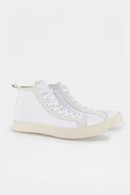 Nylon Suede High Top Trainer