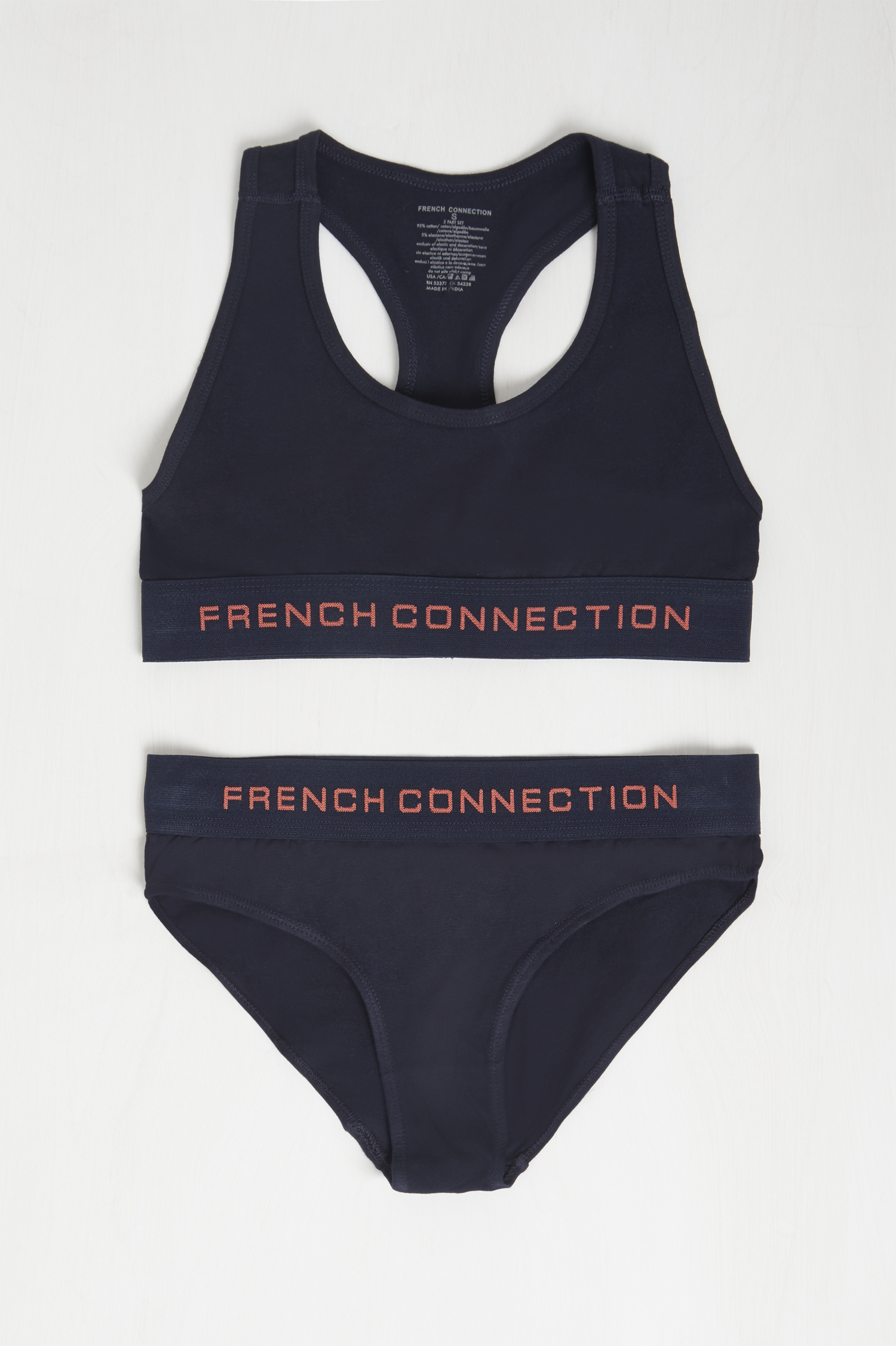 Ladies French Connection Racer Jersey Bralette And Brief Set Sizes from 8 to 16