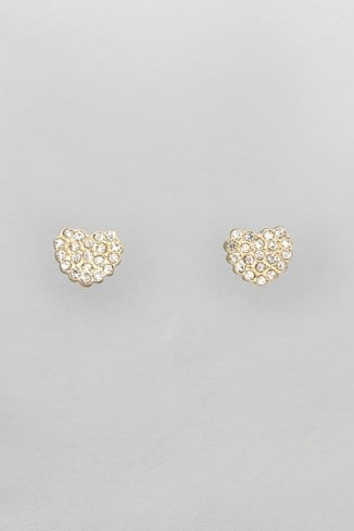 Pave Heart Stud Earrings