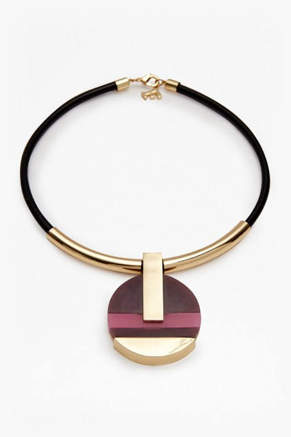 18 Inch Colour Block Circle Pendant Necklace