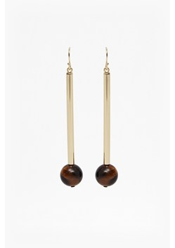 Linear Tube Bead Drop Earrings