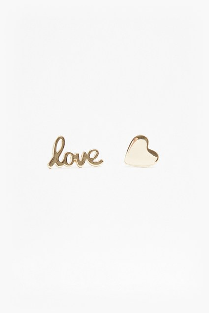 Mismatch Love and Heart Stud Earrings