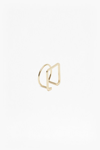 Geo Thin Circle Square Ring