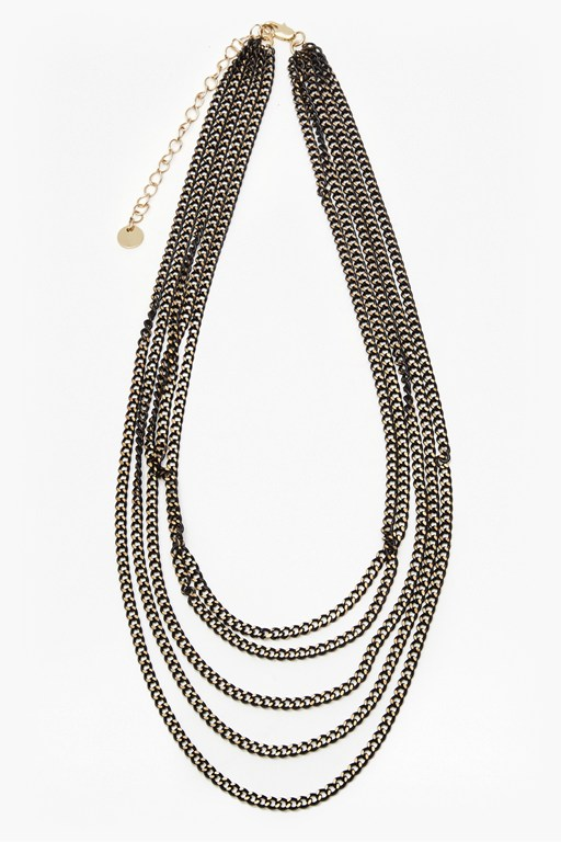 metallic carbon chain necklace