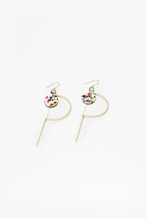 colour resin hoop and ring earrings