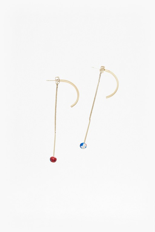 colour resin half hoop drop earrings