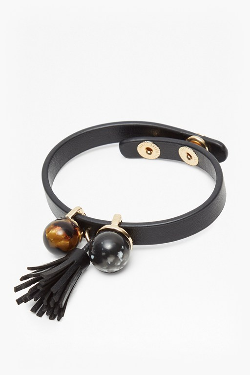 leatherette cuff bracelet with tassel and beads