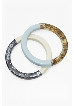 Botanical Double Resin and Wood Bangles