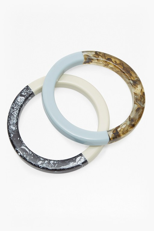 Complete the Look Botanical Double Resin and Wood Bangles
