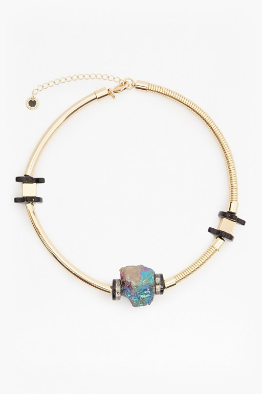 Complete the Look Iridescent Crystal Statement Choker Necklace