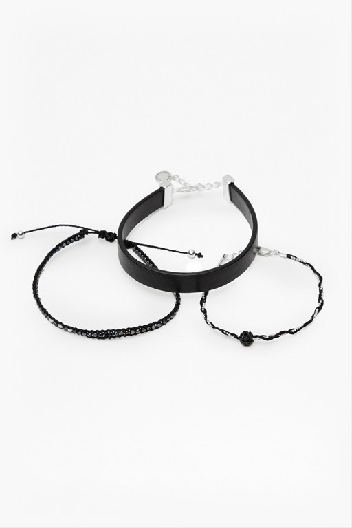 leatherette chain & beaded cuff set