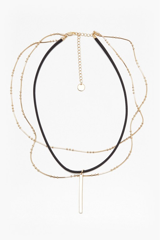 leatherette multi chain choker necklace