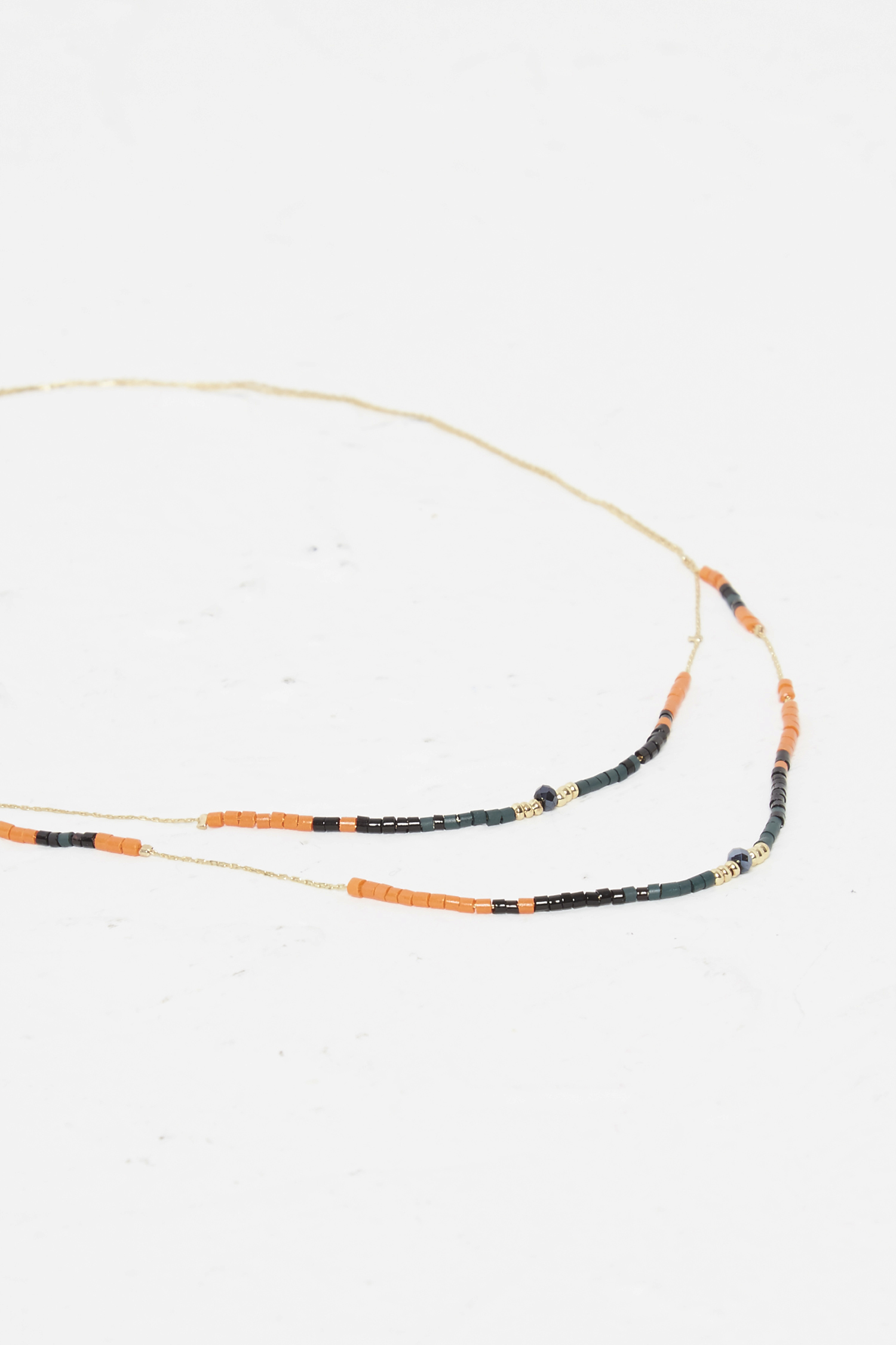 French Connection Beach Beaded Double Necklace xC6QevIkD