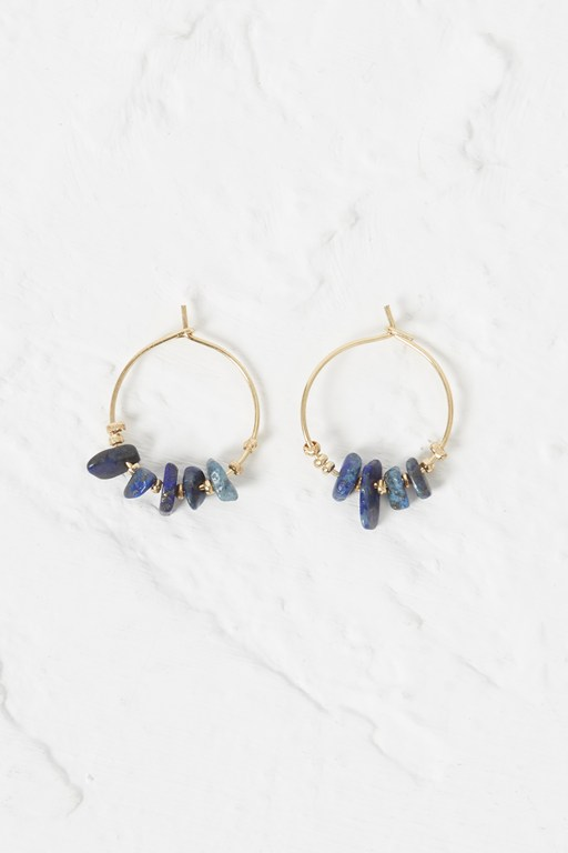 Complete the Look Beach Stone Hoop Earrings