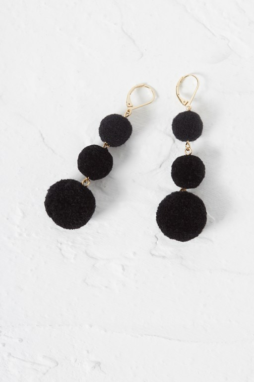 beach triple pom pom earrings